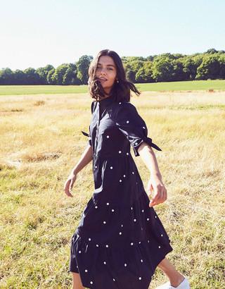 Under Armour Spot Print Poplin Dress in Organic Cotton Blue