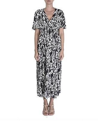 The Aloft Shop - Maxi Length Black Print Summer Dress - One Size