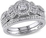 0.49ctw Diamond Engagement Ring and Wedding Band 10K White Gold 2-piece Set