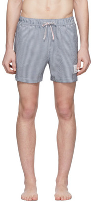 Thom Browne Navy and White Striped Seersucker Drawcord Shorts