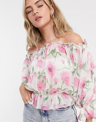 Topshop smock blouse in floral print