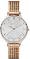 Skagen Ladies Anita Rose Goldtone Crystal Mesh Watch