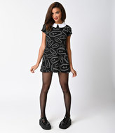 Folter Retro Style Black & White Crepe Rest In Peace Flare Short Dress