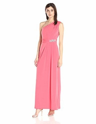 Ellen Tracy Women's One Shoulder Gown with Embellishement