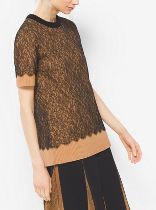 Michael Kors Cashmere and Chantilly Lace T-Shirt
