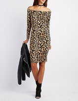 Charlotte Russe Leopard Off-The-Shoulder Bodycon Dress