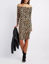 Charlotte Russe Leopard Off-The-Shoulder Bodycon Dress