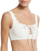 Marysia Swim Palm Springs Scalloped Lace-Up Swim Top, White
