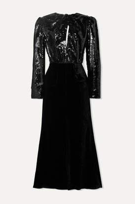 Racil Cutout Sequined Mesh And Velvet Midi Dress - Black
