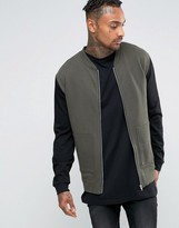 Asos Jersey Bomber Jacket With Zip Pockets & Contrast Sleeves