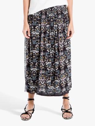 Max Studio Floral Print Mesh Maxi Skirt, Black/Multi