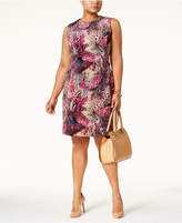 Ellen Tracy Plus Size Printed Ruched-Side Sheath Dress