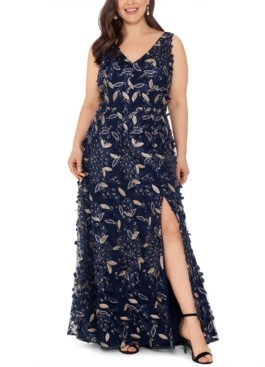 Xscape Evenings Plus Size Floral-Embellished Gown