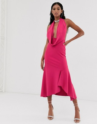 Asos Design DESIGN plunge halter maxi dress-Pink