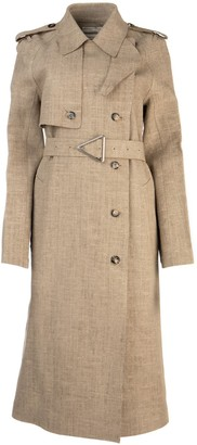 Bottega Veneta Belted Linen Trench Coat