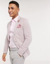 Asos Design DESIGN wedding super skinny oxford blazer in pink