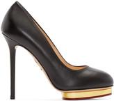 Charlotte Olympia Black Leather Dotty Heels