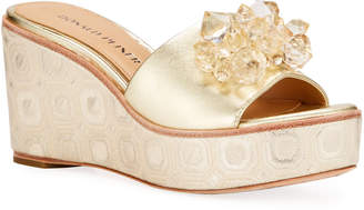 Donald J Pliner Idina Metallic Embellished Wedge Sandals, Gold