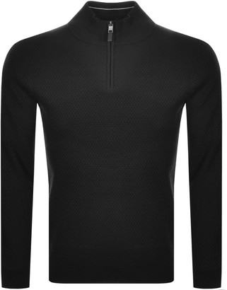 Ted Baker Tunnel Half Zip Knitted Jumper Black