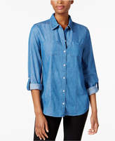 Charter Club Denim Roll-Tab Shirt, Created for Macy's