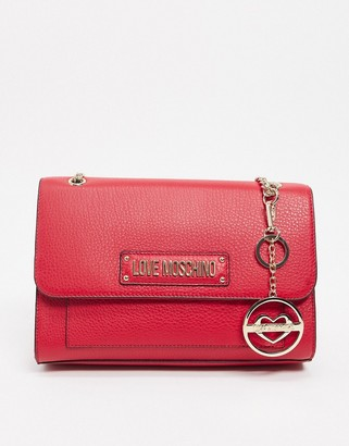 Love Moschino tote bag with key chain in red