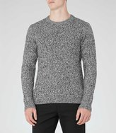 Reiss Reiss Panther - Cable Knit Jumper In Black