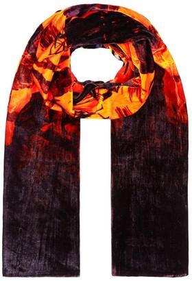 Klements Large Velvet Scarf In Doomed Voyage Print Pumpkin
