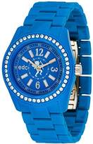 edc by Esprit Women's Glam Disco Quartz Watch with Blue Dial Analogue Display and Blue Plastic strap