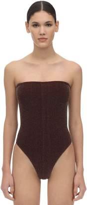Hunza G Audrey Strapless Seersucker Swimsuit