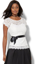 New York & Co. 7th Avenue Design Studio - Belted Lace Blouse