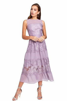 Little Mistress Women's Paige Lace Midi Dress Party
