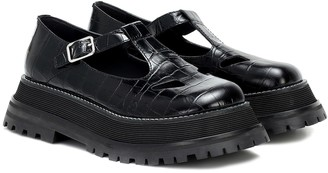 Burberry Aldwych croc-effect leather flats
