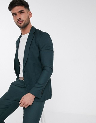New Look skinny suit jacket in dark green