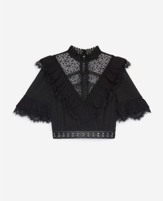 The Kooples Dotted black lace top with leather belt