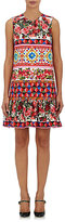 Dolce & Gabbana Women's Rose- & Mosaic-Print Cotton-Blend Shift Dress