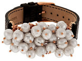 Honora As Is Cultured Pearl 7.0mm Cluster Bronze Leather Strap Bracelet