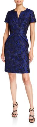 Shani Short-Sleeve Jacquard Bow Detail Dress
