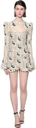 De La Vali Draped Printed Crepe Mini Dress