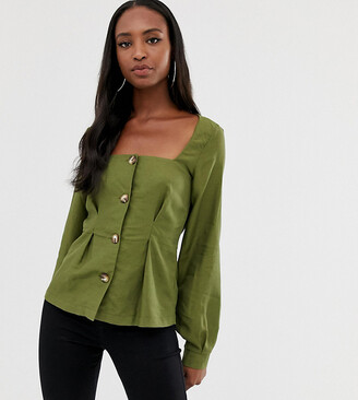 Asos Tall DESIGN Tall square neck button through long sleeve top with pleat detail-Green