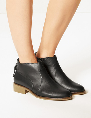 Marks and Spencer Wide Fit Biker Block Heel Ankle Boots