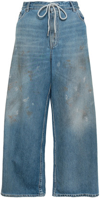 MM6 MAISON MARGIELA Distressed High-rise Wide-leg Jeans