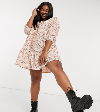 ASOS DESIGN Curve square neck mini smock dress with tiers in dusty orange ditsy print