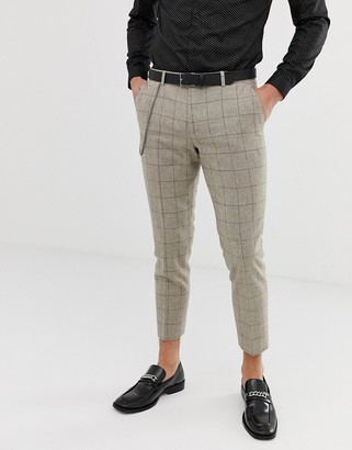 Twisted Tailor cropped tapered trouser in stone check with chain