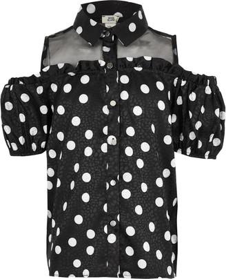 River Island Girls Black cold shoulder organza shirt