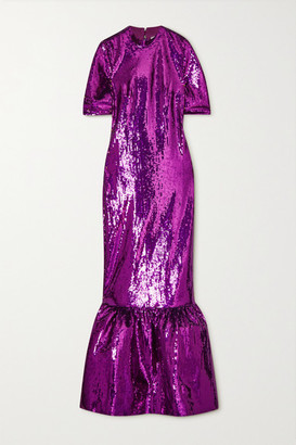 Huishan Zhang Kora Tiered Sequined Tulle Gown - Purple