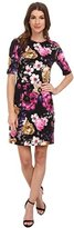 Vince Camuto Women's 3/4 Sleeve Floral Printed Ponte Dress