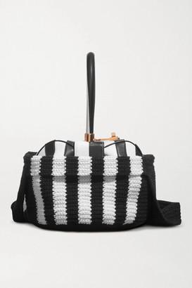 Gabriela Hearst Nina Striped Crocheted Cashmere Tote Cover - Black