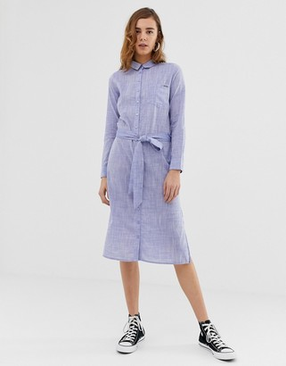 Pepe Jeans Melania denim maxi shirt dress-Blue