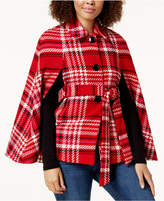 Maison Jules Plaid Cape Jacket, Created for Macy's