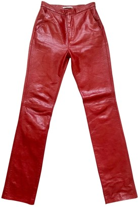 Markoo Red Leather Trousers for Women